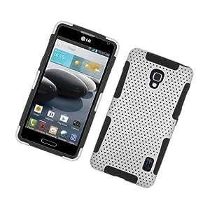 Case for LG Optimus F6 White Black Rubberized Mesh TPU/PC Silicone Protector+ FREE PRIMO DESIGN CARTOON FOLDABLE TOTE BAG