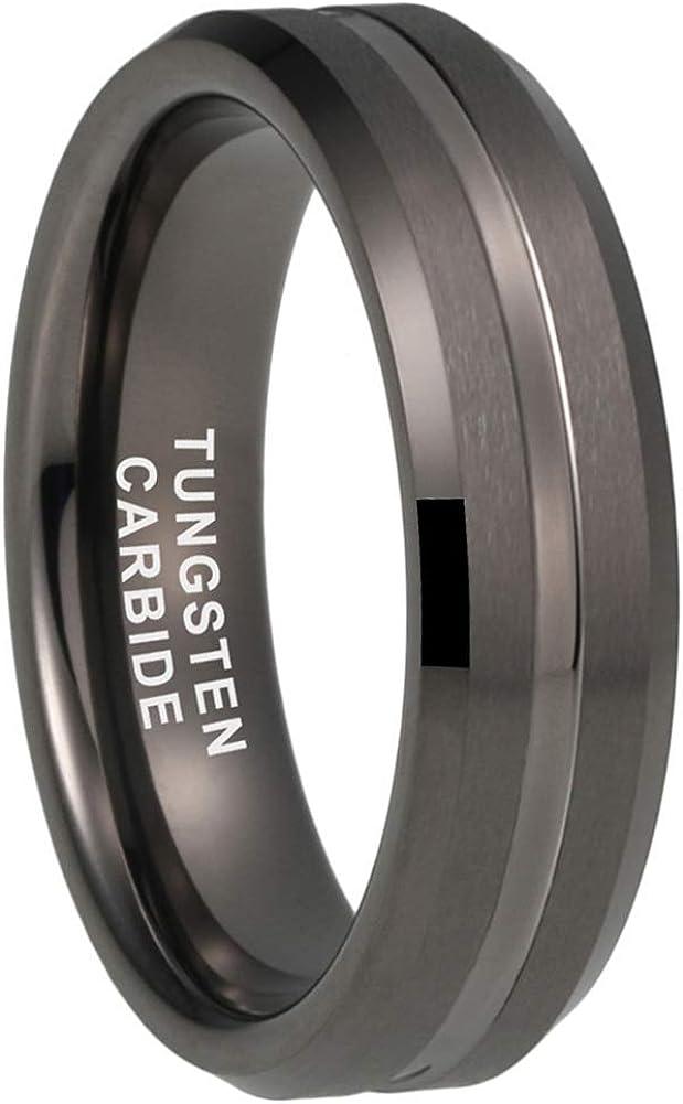 iTungsten 6mm 8mm Black/Blue/Brown/Rose Gold/18K Gold/Gunmetal/White Tungsten Rings for Men Women Wedding Bands Matte Finish Beveled Edges Comfort Fit