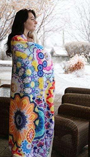 Multi-Color North End Decor Large Extra Plush Sherpa 68x54 Boho Stripe Throw Blankets 54x68