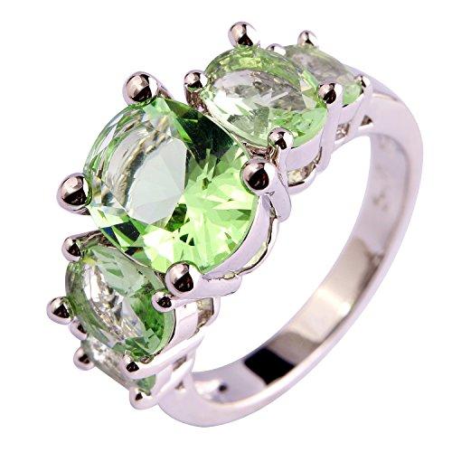 Psiroy 925 Sterling Silver Fashion Oval Cut Green Amethyst Gemstone Ring Band for Women