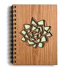succulent laser cut wood journal notebook birthday gift gratitude journal - Laser Cut Wood