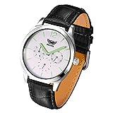 KESONA Watches for Men Fashion Multifunction Luminous Waterproof Wrist Quartz Watch Sapphire Glass Business Casual Leather Strap(White)