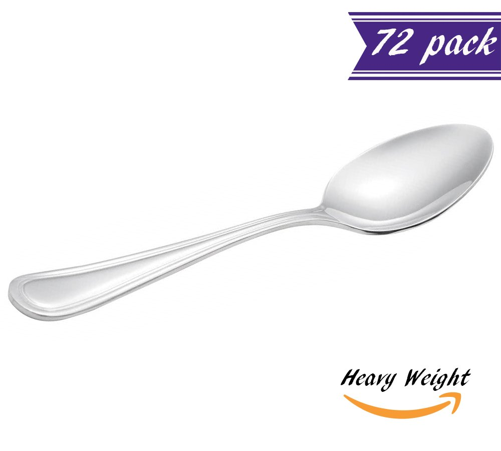 (Set of 72) Tuscany Teaspoons, 5 7/8-Inch Heavy Weight 18/0 Stainless Steel Tea & Coffee Spoons for Restaurant / Catering Silverware Flatware, Commercial Quality Tea Spoon Set