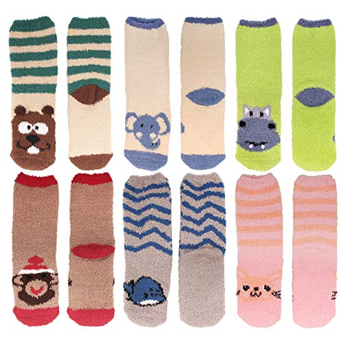 Fuzzy Beaver (Women's Super Soft Warm Microfiber Fuzzy Cozy Animal Crew Socks, Asst 6d, 6 Pairs)