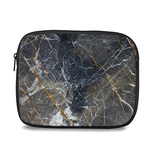 Marble Durable iPad Bag,Abstract Medieval Style Architecture Ceramic Textured Artsy Facet Design Decorative for iPad,10.6