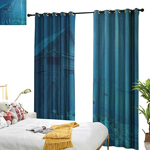 (longbuyer Ocean Blackout Draperies for Bedroom Sun Rays Over Ruins of A Former Civilization Deep Sea Atlantis World Nautical Picture Print W72 x L108,Suitable for Bedroom Living Room Study, etc.)