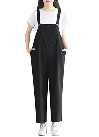5f51153061c9 Amazon.com  Romacci Women s Strap Overall Cotton Linen Wide Leg Pants  Sleeveless Rompers Baggy Bibs Jumpsuit with Pockets (2XL