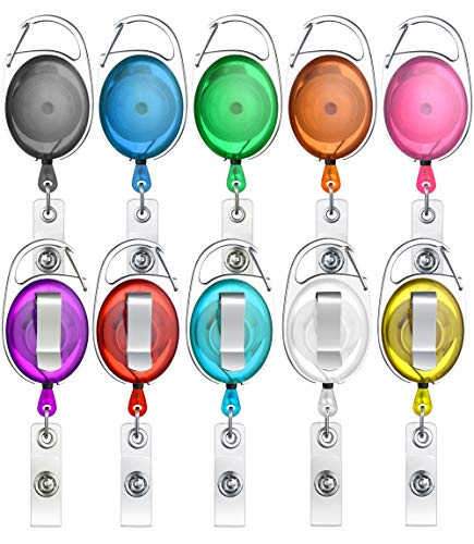 ljdeals Retractable Badge Holder Carabiner Reel Clip On ID Card Holder Translucent, Pack of 10- Assorted Colors