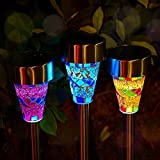 Outdoor Solar Garden Lights - 3 Pack Mosaic Solar Powered Stake Lights, Solar Garden Stake Landscape Lights for Garden Flowerbed Path Walkway Patio Lawn Outdoor Decoration