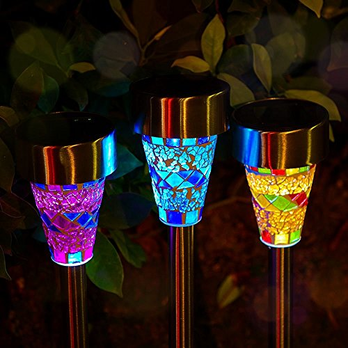 (Outdoor Solar Garden Lights - 3 Pack Mosaic Solar Powered Stake Lights, Solar Garden Stake Landscape Lights for Garden Flowerbed Path Walkway Patio Lawn Outdoor Decoration)