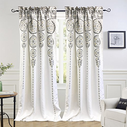 DriftAway Taylor Moroccan Cascading Medallion/Floral Pattern Room Darkening Window Curtains, Rod Pocket, Set of Two Panels, each size 52
