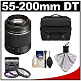 Sony Alpha DT 55-200mm f/4-5.6 SAM Zoom Lens with Case + 3 UV/FLD/CPL Filter Set + Cleaning Kit for A57, A58, A65, A77 DSLR Cameras, Best Gadgets