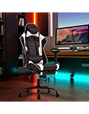 Ergonomic pad Racing Office Chair Ergonomic Table and Chair Massage PU Leather Recliner PC Computer Chair with Lumbar Support, headrest, armrest, footrest, Female Adult Rotating Work Chair (White)