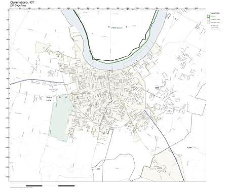 Amazon Com Zip Code Wall Map Of Owensboro Ky Zip Code Map Not
