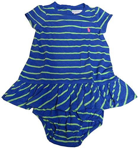 Ralph Lauren Infant Girls 2 Piece Short Sleeve Dress Blue Striped (9 Months)