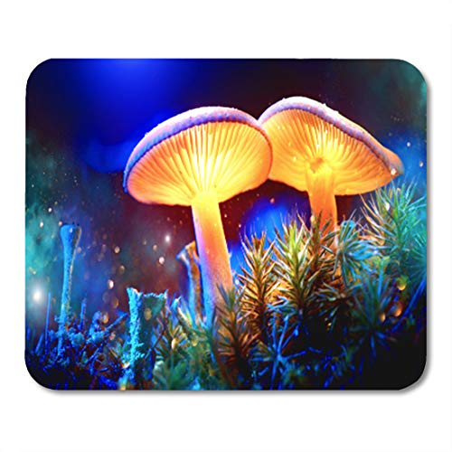 Semtomn Gaming Mouse Pad Mushroom Fantasy Glowing in Mystery Dark Forest Beautiful Macro 9.5