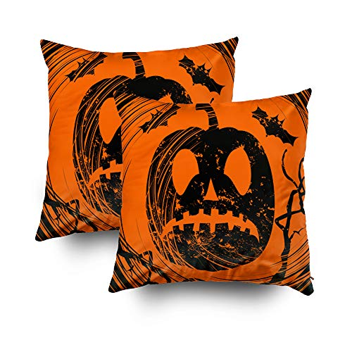 Joy pillow case,ROOLAYS Throw Square Decorative Pillow Cover 20X20Inch, Cotton Cushion Covers Halloween background with scar Both Sides Printing Invisible Zipper Home Sofa Decor Sets 2 PCS Pillowcase