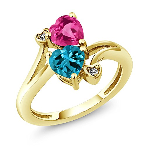 Gem Stone King 1.78 Ct Heart Shape London Blue Topaz Pink Created Sapphire 10K Yellow Gold Ring (Size 6)