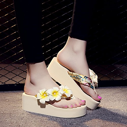 Fabric Sandals Cotton Women's 1453 Platform Beach Flower beige Flipflops Lightweight fereshte 1TwqHEH