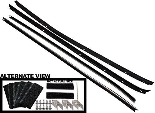 APDTY 134004 Door Window Glass Rubber Weatherstrip Dew Wipe 4-Piece Set Fits 1970-1981 Chevrolet Camaro or Pontiac Firebird (Includes Installation Kit; Replaces 8808231, 8808230, 9612541, (Camaro Door Glass)
