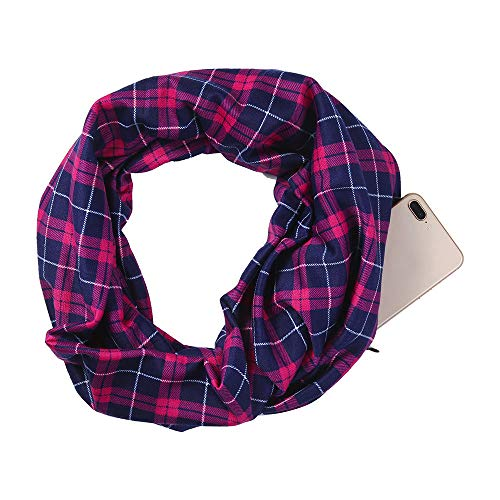 Women Infinity Scarf Soft Print Shawl Wrap Loop Scarf with White Zipper Pocket, Infinity Scarves (Multicolor -A, Free Size) by Appoi Scarf (Image #3)