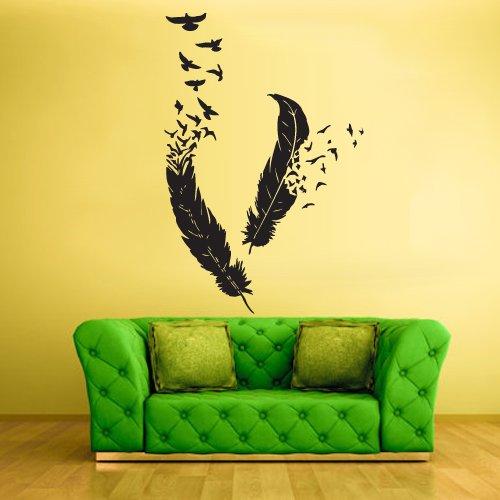 Wall Vinyl Sticker Decals Decor Art Bedroom Design Mural Birds Feathers Plume Nib Z447