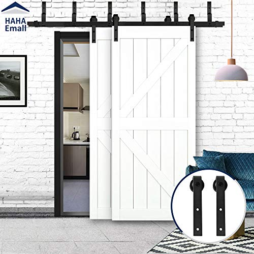 Hahaemall 6FT Black Rustic Heavy Hanger Steel Sliding Bypass Double Barn Door Hardware Track Roller Metal Rail Set ()