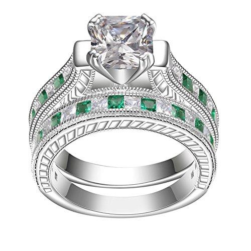 KIVN 925 Sterling Silver Princess CZ Engagement Bridal Wedding Rings Sets for Women (Emerald, (Fashion Channel Set)