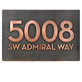 Bold Modern Font with or without Street Name Plaque - 13x8.5 - Copper Metal Coated Custom Sign