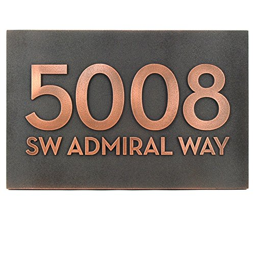 Bold Modern Font with or without Street Name Plaque - 13x8.5 - Copper Metal Coated Custom Sign by Atlas Signs and Plaques