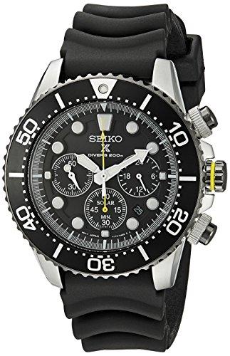 Seiko Men's SSC021 Solar Diver Chronograph Watch Chronograph Dive Watch