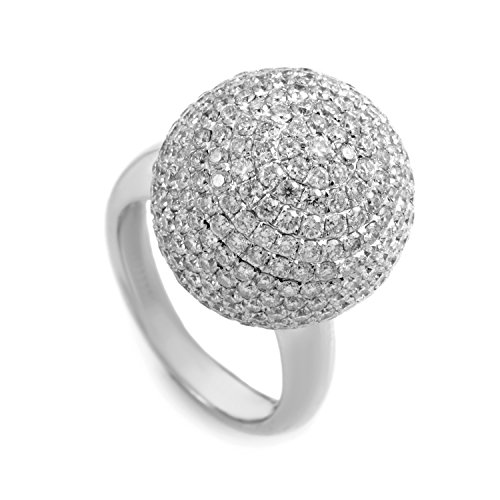 Luxury Bazaar 18K White Gold Diamond Pave Sphere Ring AN61991 - Pave Sphere