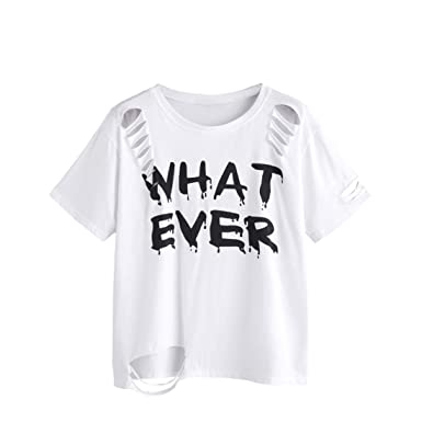 Amazon.com: DondPO What Ever Letter Printed Womens Short Sleeve Holes Shirt Tops T-Shirt Cotton White Summer Shirts Loose Casual Blouse Tee Short Style: ...
