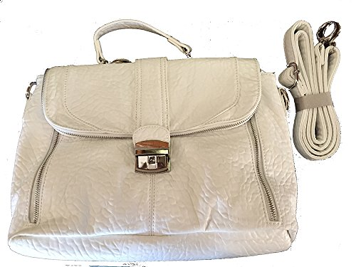 Fabulous White Leather Look Md/Lg Sized Purse/Handbag w/Shoulder/Short Hndl Choice Incl (7 Pockets) by Unknown