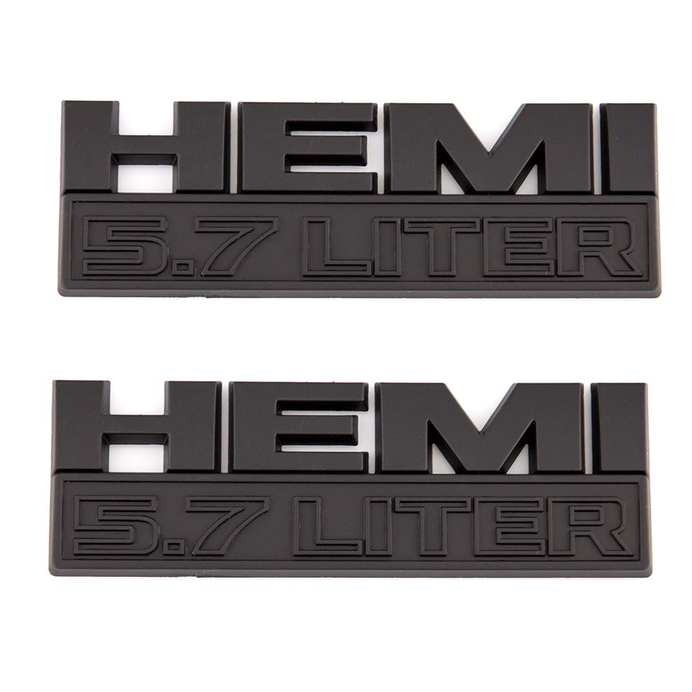 Matte Black 2X Car Badge For HEMI 5.7 LITER Emblems Of ABS Badge Replacement For Charger Ram 1500 Challenger Grand Cherokee