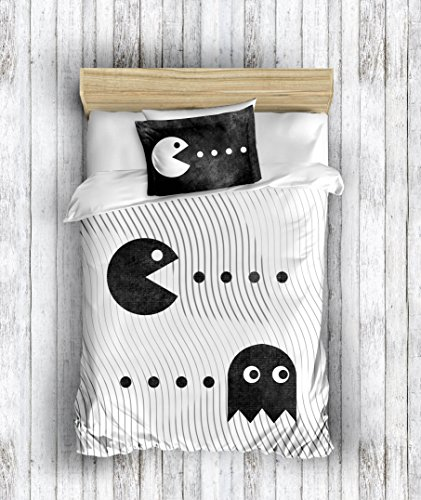 DecoMood 3D Printed 100% Cotton Pacman Bedding Set Boys Girls Bed Set, Single/Twin Size Quilt/Duvet Cover Set, Black White, with Fitted Sheet (4 -