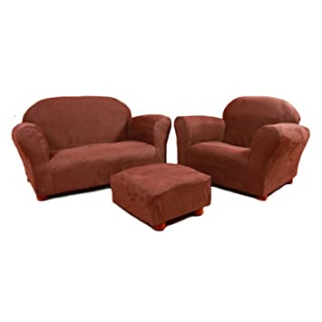 Keet Roundy Microsuede Childrenu0027s Chair, Sofa And Ottoman Set, Brown