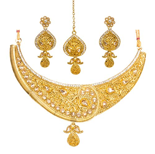 Bindhani Indian Jewelry Wedding Party Wear Bridal Bridemaids Antique Crafted Gold Plated Kundan Choker Necklace Earrings Tikka Set Designer Bollywood Style Jewellery Tika Set for - Indian Jewelry Handmade