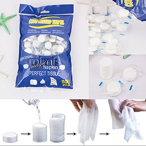 100 PCS Compressed Towel / Magic Wipe Soft Cotton Expandable Just add water