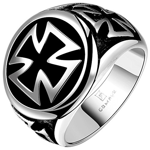 LWLH Mens Stainless Steel Silver Tone Black Cross Ring Wide Vintage Knight Punk Gothic Biker Wedding Band Szie 11