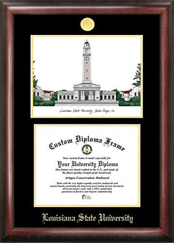 Campus Images LA999LGED Louisiana State University Embossed Diploma Frame with Lithograph Print, 8.5