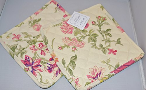 April Cornell French Country Cottage Garden Floral Potholders Set of 2 Pink Green Yellow