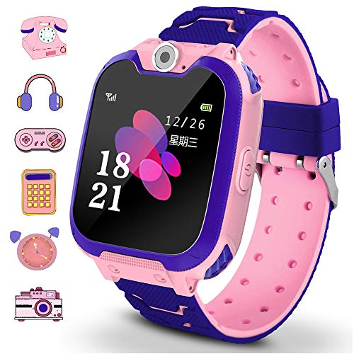 Smart Watch Phone for Kids Dial Touch Screen Camera Games Music Recording Calculator Girl and Boys Best Gift (S10-pink)