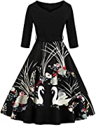 Jiuzhoudeal Women's Vintage Floral 3/4 Sleeve Retro Rockabilly Swing Cocktail Dress