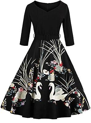 Jiuzhoudeal Women's Vintage Floral 3/4 Sleeve Retro Rockabilly Swing Cocktail Dress