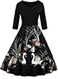 Jiuzhoudeal Women's Vintage 1950s 3/4 Sleeve Floral Cocktail Party Prom Swing Dress (Small, Black)