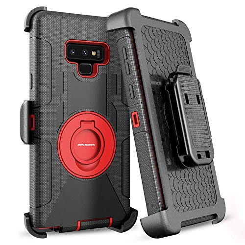 BENTOBEN Case for Galaxy Note 9, Shockproof Heavy Duty Rugged Hybrid Hard PC Soft Silicone Bumper Full Body Protective Phone Case Cover with Kickstand Belt Clip Holster for Samsung Galaxy Note 9, Red