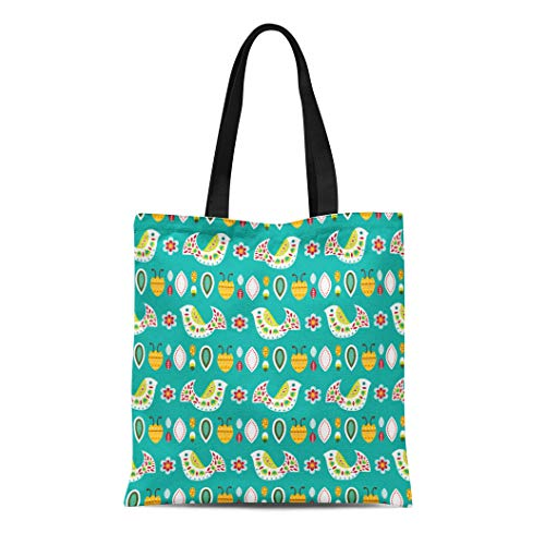 Semtomn Canvas Tote Bag Shoulder Bags Pattern Colorful Cartoon Bright Mexican Folk in Flat Celebration Women's Handle Shoulder Tote Shopper - Bags Cartoon Flat