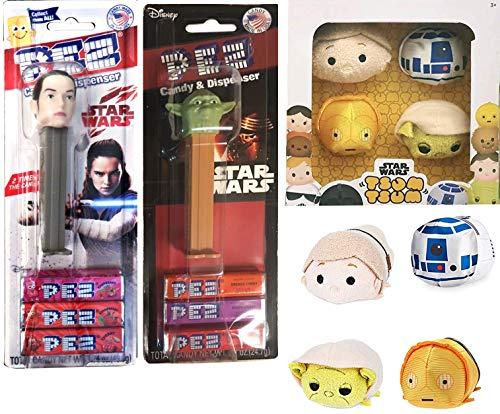 (Yoda Collectors Box Star Wars Tsum Plush Set Pack 4 Characters Disney Mini Tsum Collection Droids / Luke Skywalker / R2-D2 / C-3PO Stackable Cute Soft Bundled with Pez Heads Characters Rey)
