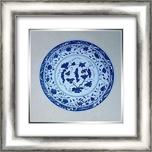 (Ming, Vine and Grape Platter 20x20 Silver Contemporary Wood Framed and Double Matted Art Print by Anderton,)